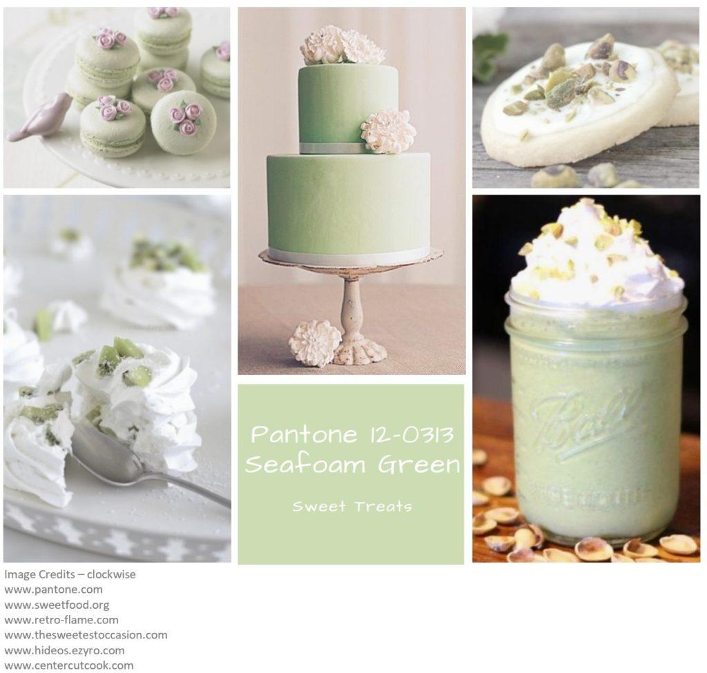 PIcture Montage of Pantone colour Seafoam Green
