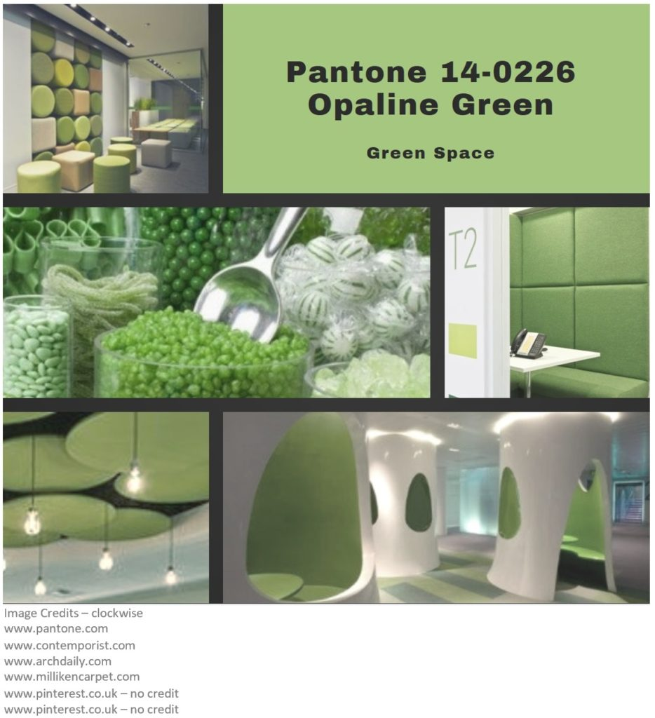 PIcture montage for Pantone colour Opaline Green