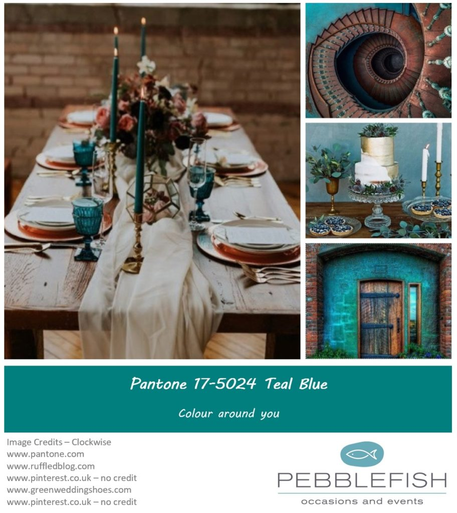 PIcture montage for pantone colour Blue Teal