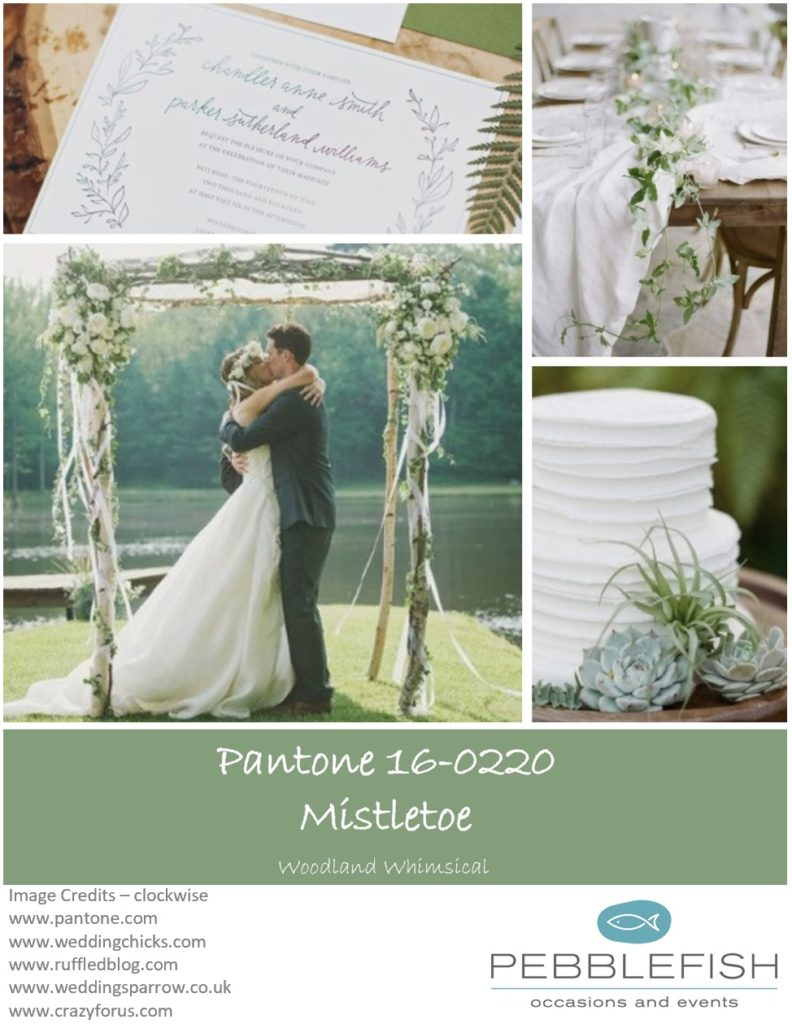 PIcture montage for pantone colour Mistletoe