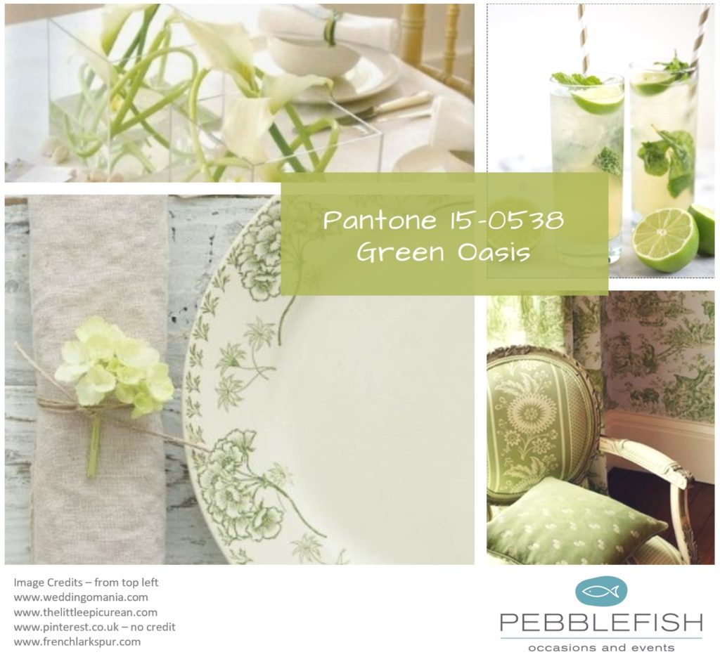 PIcture montage for pantone colour Green Oasis
