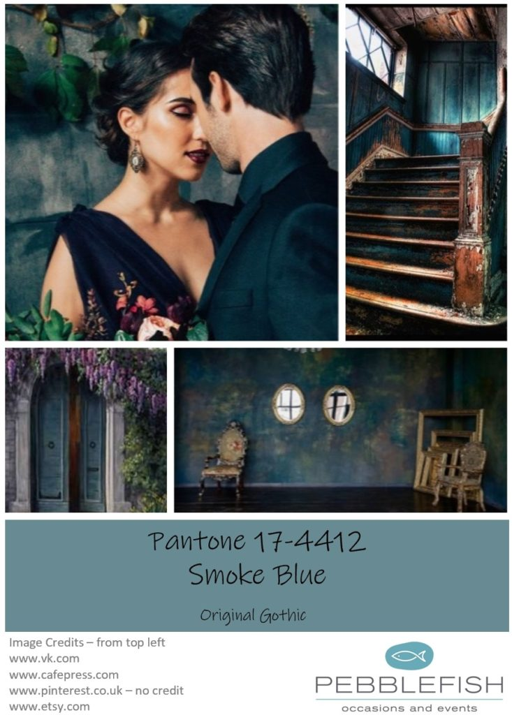 Picture montage for the pantone colour Smoke Blue
