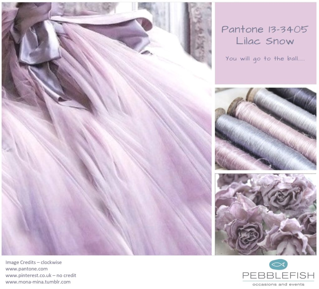 PIcture montage for pantone colour Lilac Snow